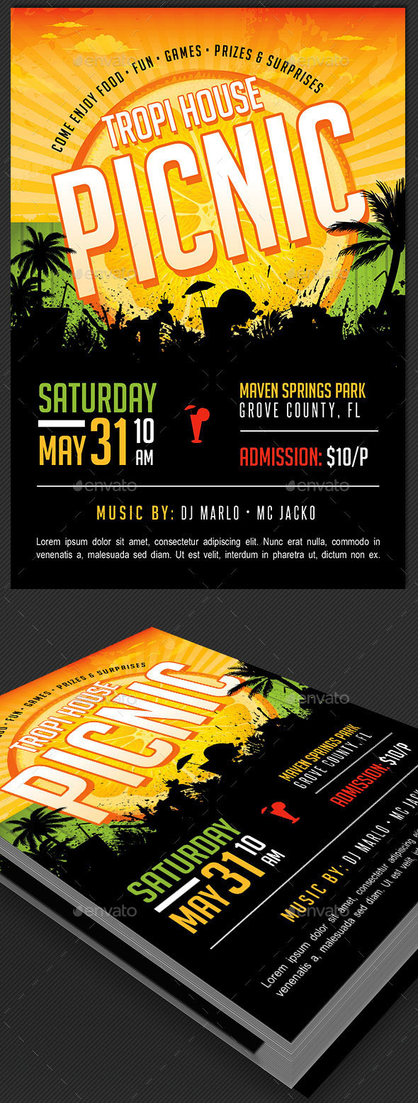 Tropical Picnic Flyer And Ticket Template On Behance