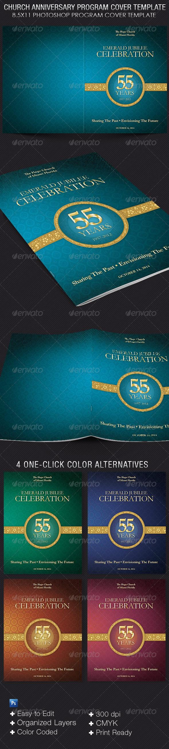 church anniversary program cover template on behance