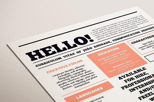 Resume CV Curriculum Vitae 86ideas   joao andrade infographic grid newspaper Portugal