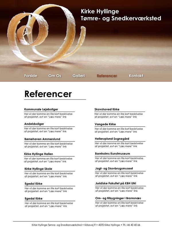 Webdesign Kirke Hyllinge Tomre Og Snedkervaerksted On Behance