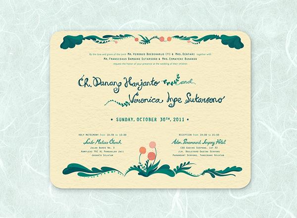 Jakarta Hand Drawn Wedding Invitation On Pantone Canvas Gallery