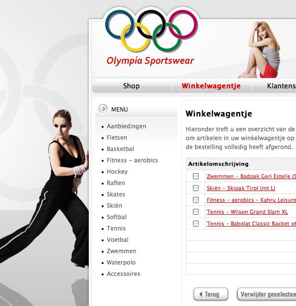 Olympia Sportswear webshop Webdesign HTML css jeroen rijpstra Van der Let & Partners Identity