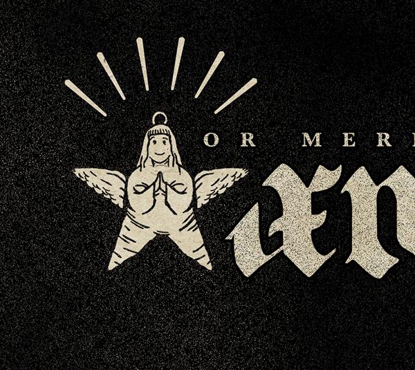 Christmas wishes black metal Satan metal heavy metal punk ambigram gothic font funny black goat angel