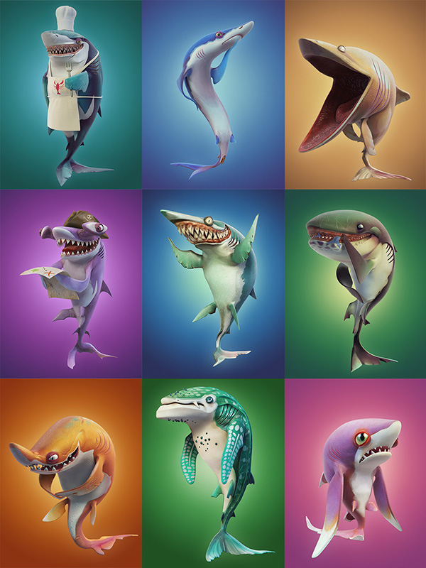 Character Design Job London : Hungry shark world character renders on behance