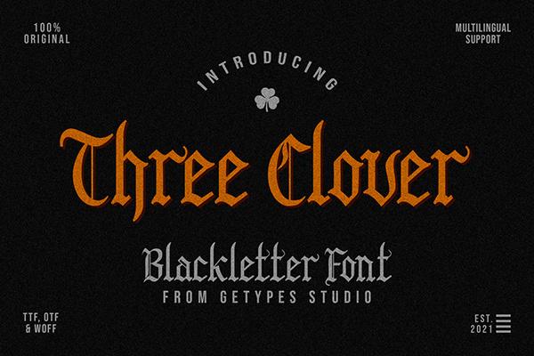 FREE | Three Clover - Blackletter Font