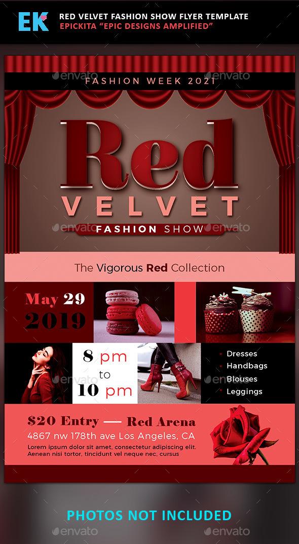 Epickita Red Velvet Fashion Show Flyer Template - Fashion show flyer template
