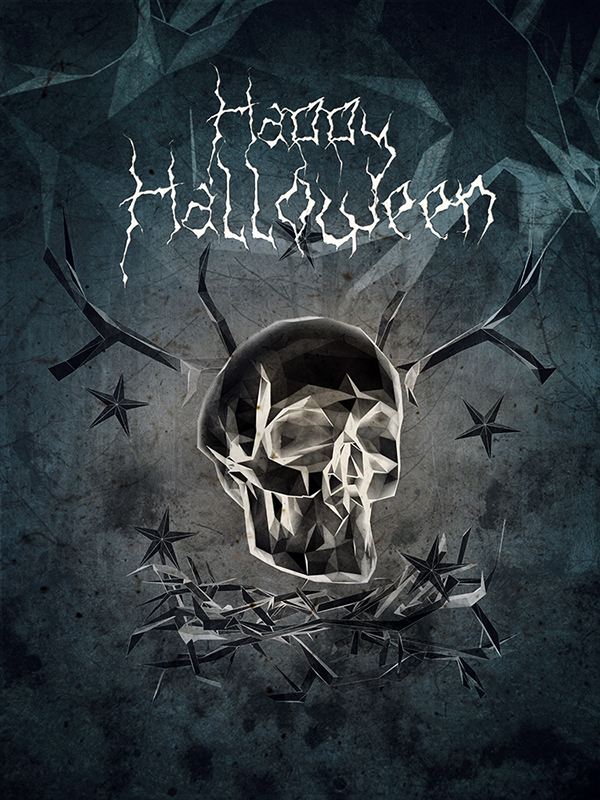 polygonal 3D CG modo Halloween skull