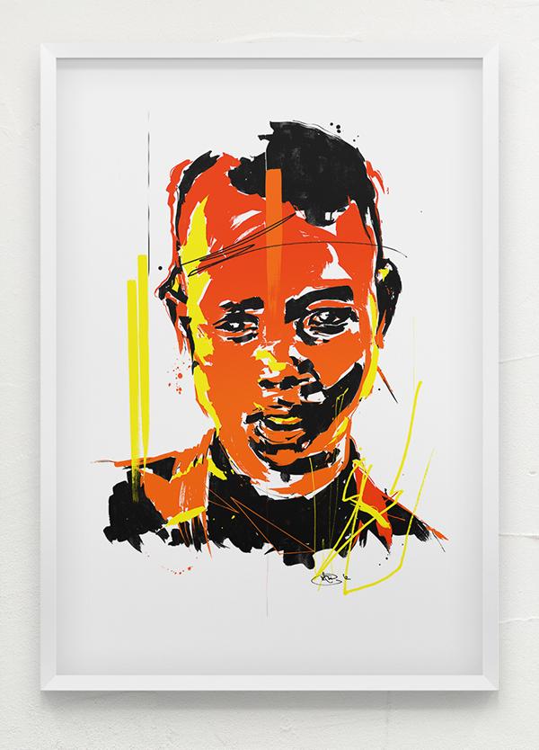analog digital portrait wacom India ink ethiopia trip on the way