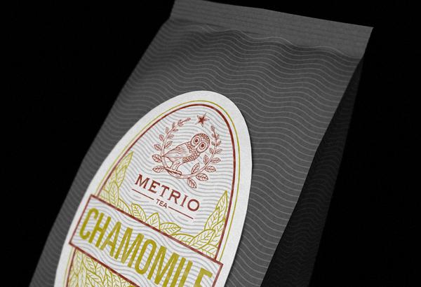 package  letterpress print Label waves tea organic identity bag metrio owl brand identity