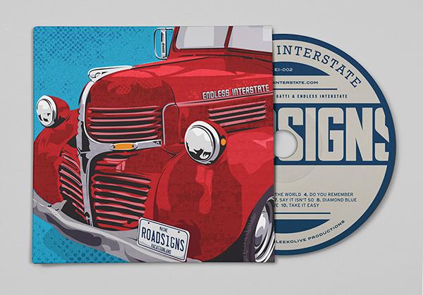 CD packaging, album art,CD cover,band branding,old truck,endless interstate