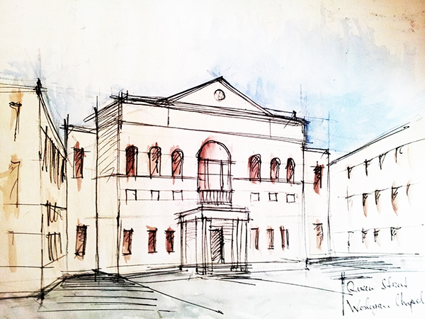 building sketches water color on student show