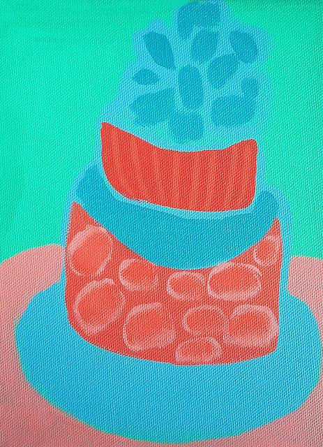 cakes  party blue pink pearls wedding cake birthday cake bold festive