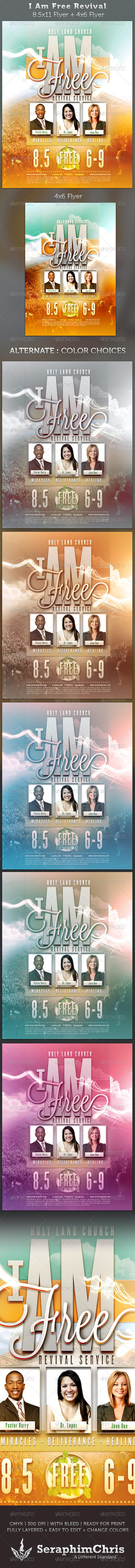 i am free revival flyer full page and 4x6 template on behance