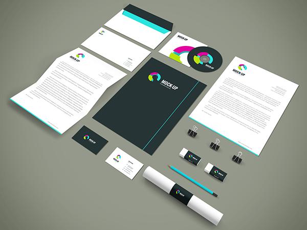 free freebie Mockup mock-up psd Stationery corporate Collection showcase letterhead presentation business card cd folder design