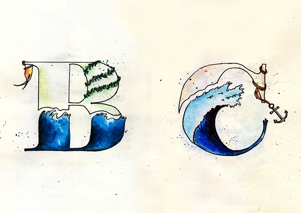destination typoetry sea seafaring journey Travel watercolour