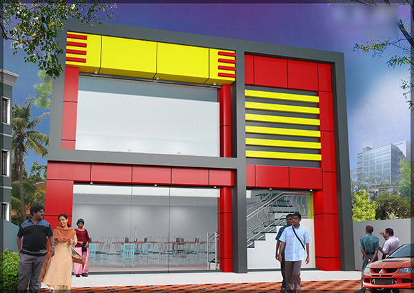 Acp Front Elevation Showroom Design : Acp cladding exterior designs on behance
