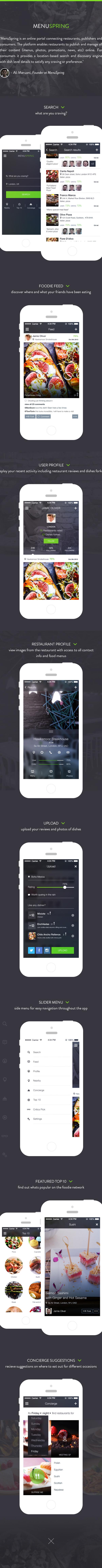 app ios7 menu Food  reviews profile social network sharing