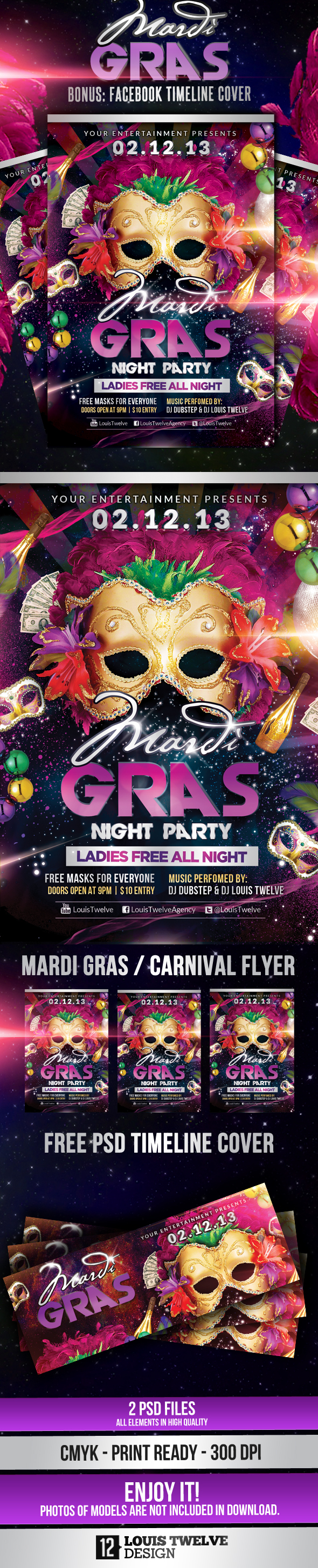 Pics Photos - Mardi Gras Carnival Party Flyer Fb Cover Clubs Parties