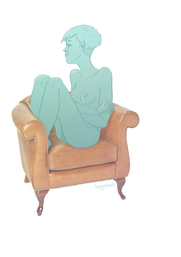 girl,nude,turquoise,chair,draw,digital