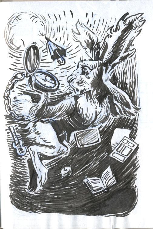 neresta nera inktober ink brush pen ball pen markers Halloween folk fantasy sci-fi sketchbook girl boy animal