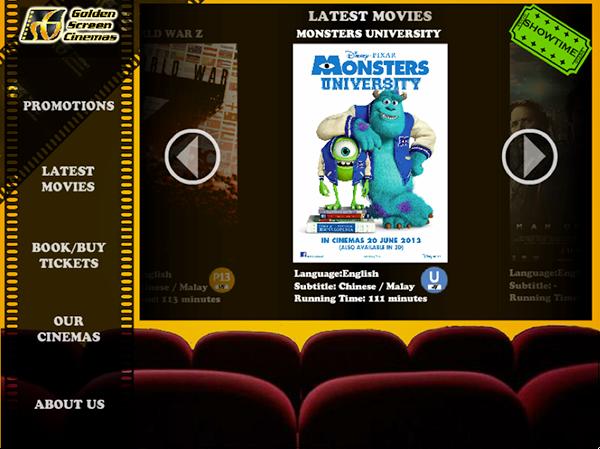 Golden Screen Cinema Kiosk Application on Student Show
