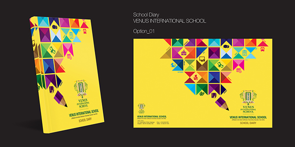Design Book Cover School Project : School diary cover page design on behance