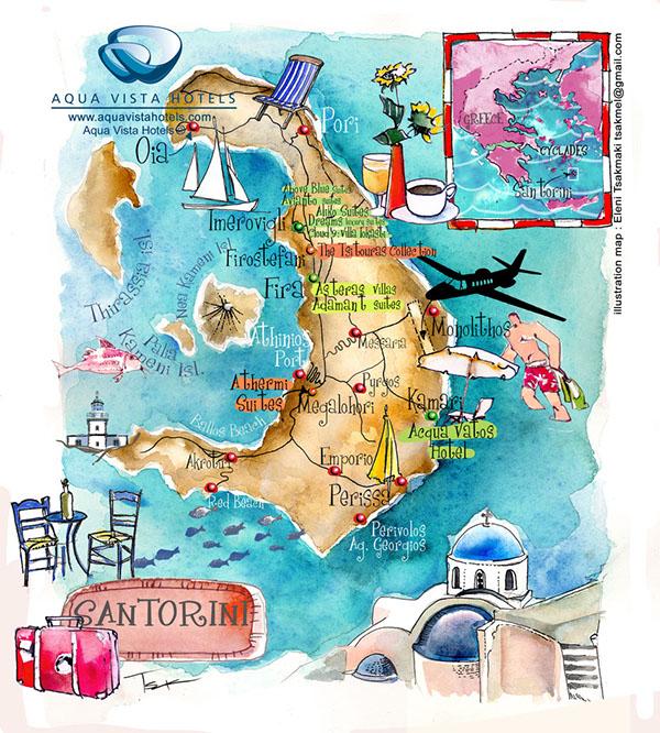 Santorini isl art map in Aegean sea on Behance