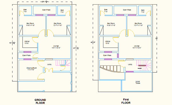 Autocad 2d house plans on behance Free house map design images