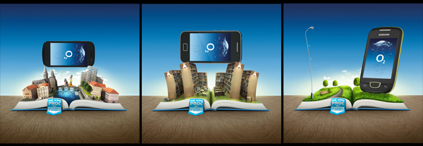 o2 book town prague city wood drawetc ge Bank smartphone photomanipulation CG CGI hand mobile Internet banking mentos Fruit palm Island 3D