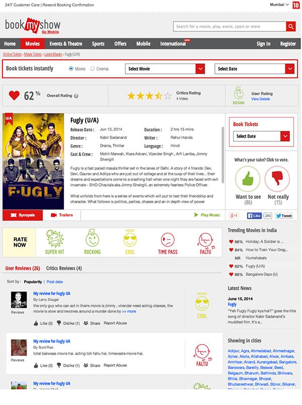 bookmyshow movie SYNOPSIS redesign ticketing