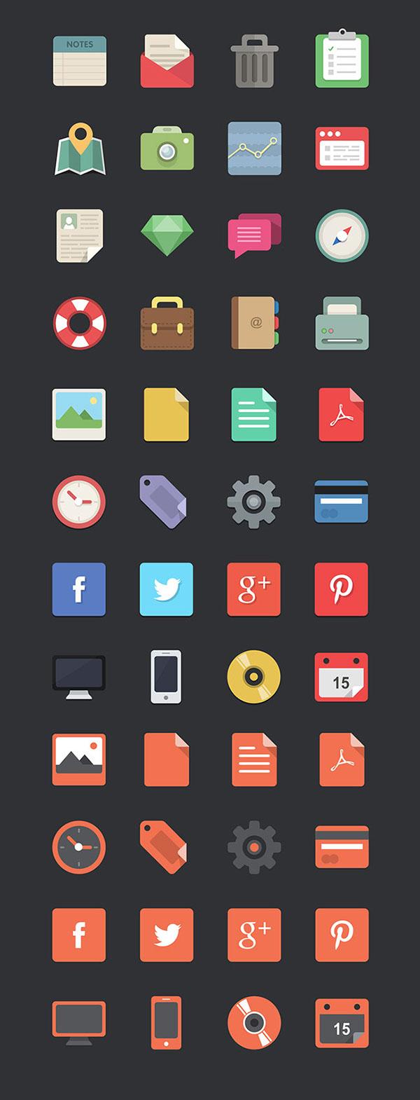 Free Multi-purpose Flat Icon Set