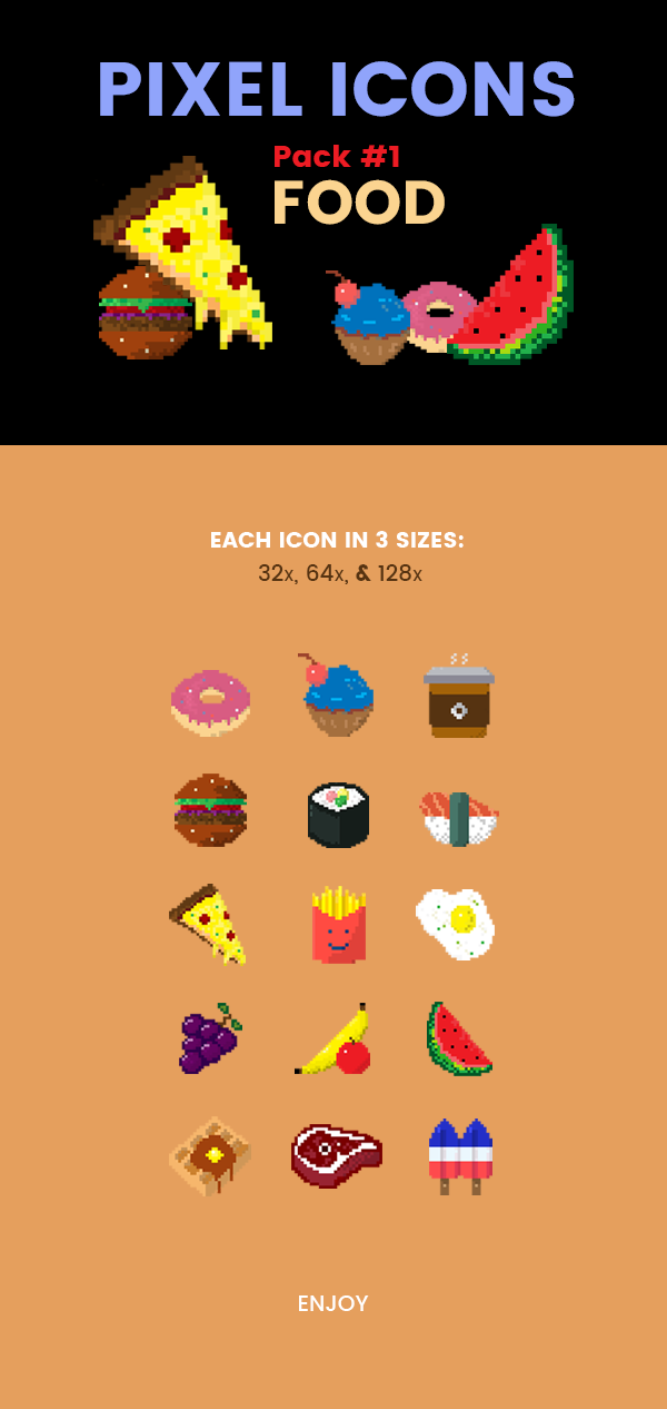 Pixel Icons Pack#1 - Food on Behance