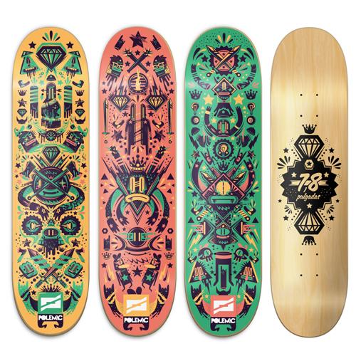Polemic skate decks on behance - Skateboard dessin ...