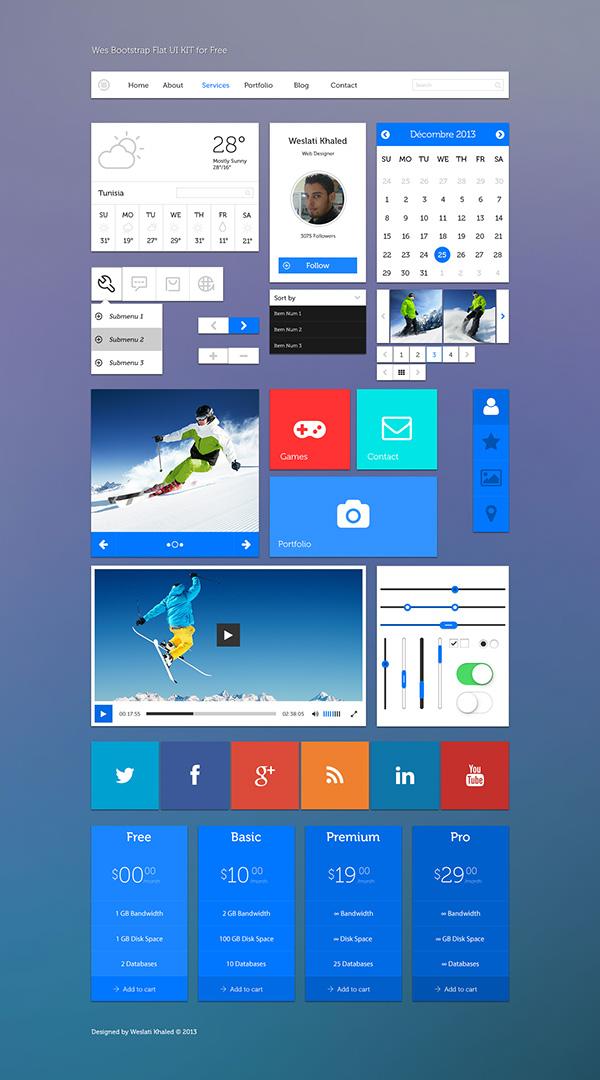 free ui,flat design,bootstrap grid,Flat UI kit,free psd