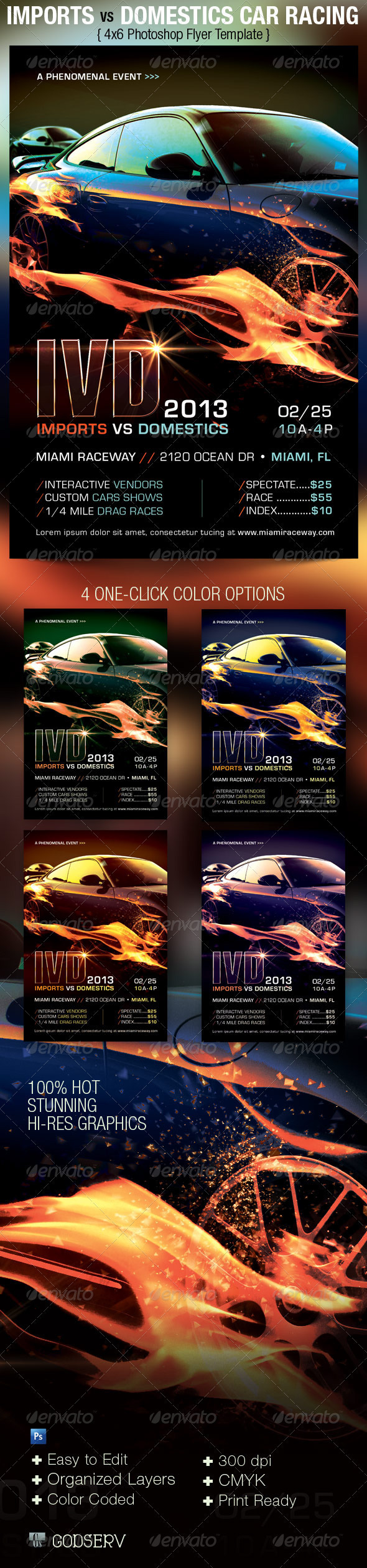 imports vs domestics car racing flyer template on behance