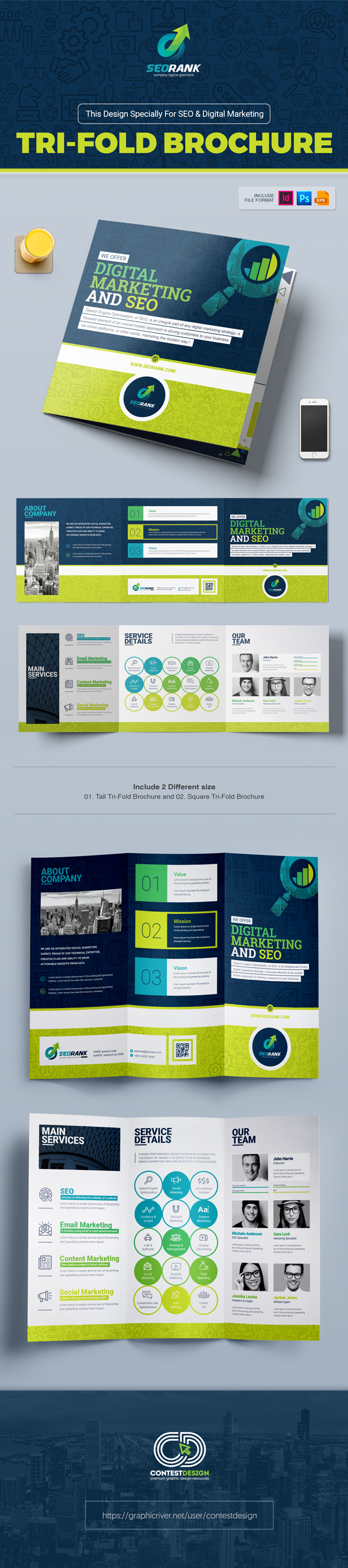 tri fold brochure template for seo digital marketing on behance