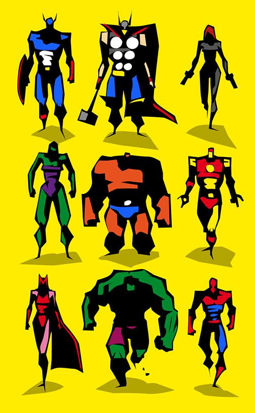 Marvel Character Design Behance : Marvel dc motu vector sketches on behance