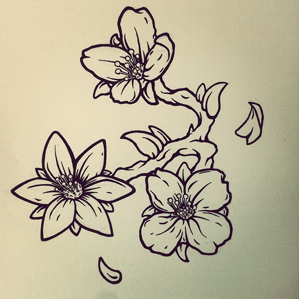 Line Drawing Jasmine Flower : Jasmine flower tattoo design on behance