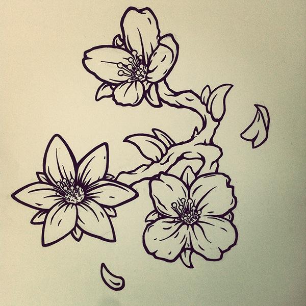 Line Drawing Of Jasmine Flower : Jasmine flower tattoo design on behance