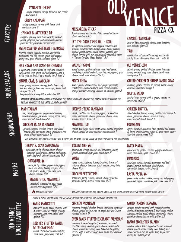 old venice restaurant marketing menu table toppers on behance