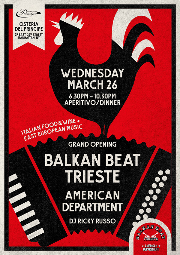 Illustration Concept And Creativity Design For The Balkan Beat In NY Eastern European Music Italian Food Wine All Material Designed Posters