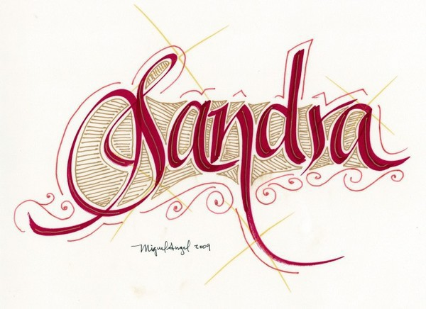 Calligraphy lettering name quot sandra on behance