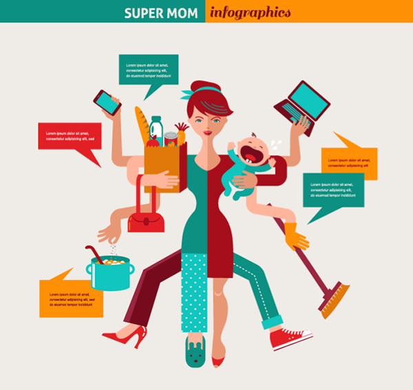 Character Design Career Information : Super mom infographic of multitasking mother on behance
