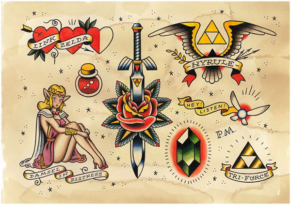 Oliver Peck American Traditional Tattoo 'Game Over' - Videogam...