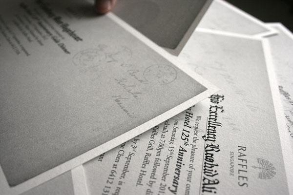 Raffles Hotel Singapore English Calligraphy Service On