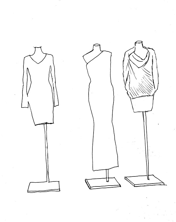 Designer Mannequin Drawing Sketches of Retail Mannequins