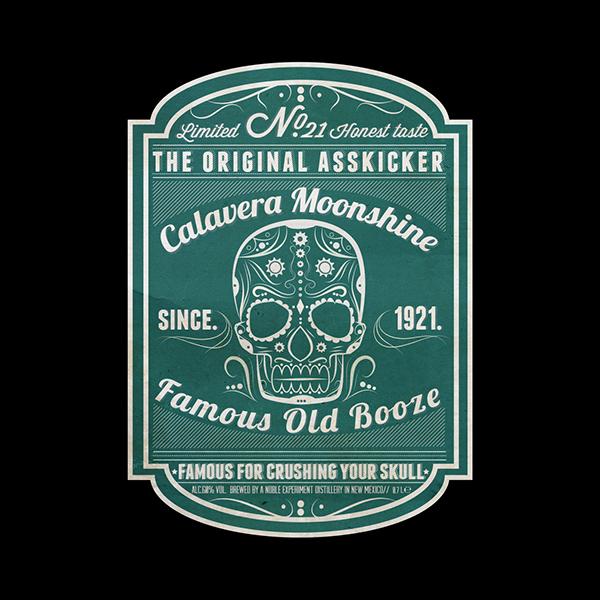 Fashion Logo Template: **Calavera Moonshine** Label And Bottle Design On Pantone
