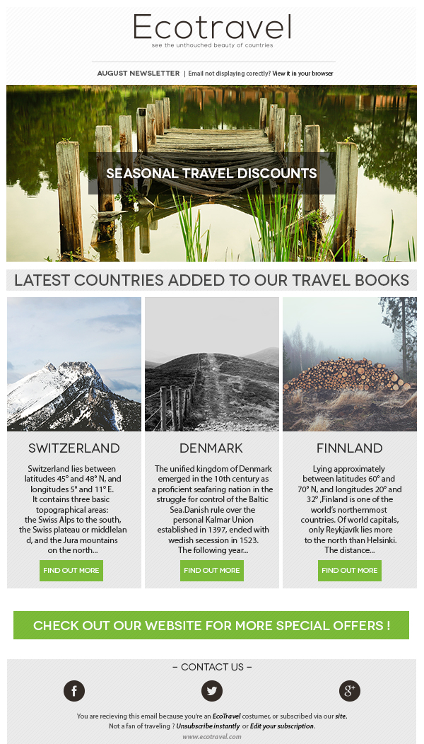 Ecotravel Email Newsletter Template On Behance