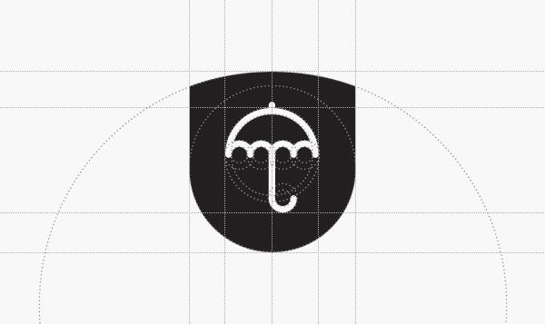 attorney law Office ARAD romania identity turquoise blue green Umbrella shileld mark logo Icon line