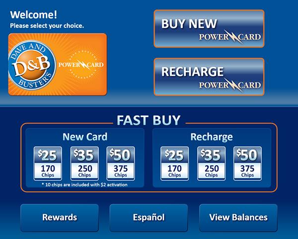 Dave & Buster's Power Card Kiosk Application on Behance
